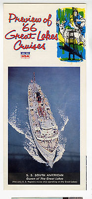 1966 Brochure & 3 post cards, Great Lakes passenger ship South American
