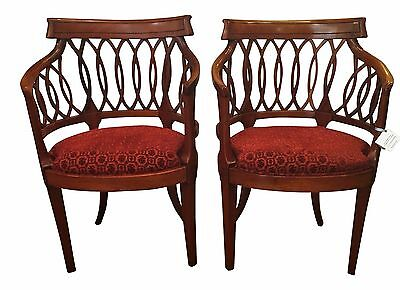 Small Antique Biedermeier Style Fruitwood Arm Chairs - A Pair