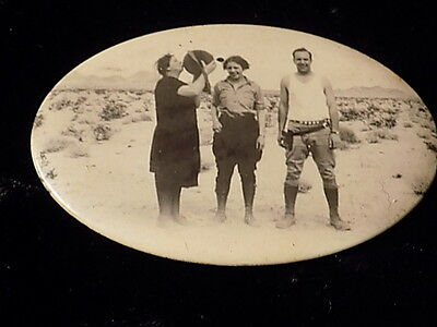 Antique Picture Mirror-Picture Of 3 People In A Desert-Man With Holster