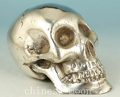 Chinese Old Copper Plating silver Handmade Carved Skullcandy Statue gift Ornamen