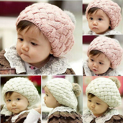 Baby Kids Girls Toddler Winter Warm Knitted Crochet Beanie Hat Beret Cap Cute