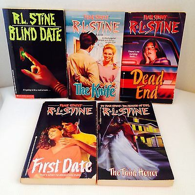 RL Stine Lot of 5 Chapter Books 99 Fear Street Blind Date First Date The Knife