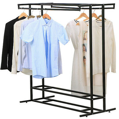 Stainless Steel Double Rod Hangrail Department Store Style Clothes Garment Floor