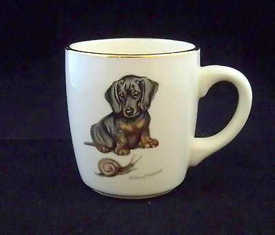 Black & Tan Smooth Dachshund & Snail Mug w/ Gold Trim Signed Edwin Megargee USA