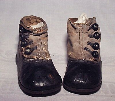 Authentic Antique Vintage Child's Button Up Leather Shoes For Display Or Doll