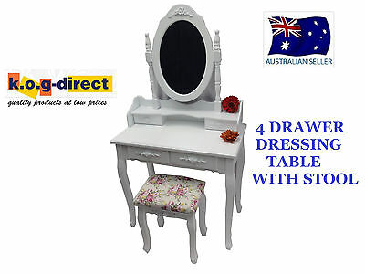 Ladies Girls Dressing Table & Stool 4 Drawers Jewellery & Makeup Cabinet Hw-106