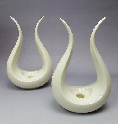 Lenox USA lyre candle holders white mid century modern pair