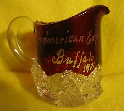 """BUFFALO PAN AMERICAN EXPO 1901 Ruby Red Glass 2¾"""" Creamer 6 Pointed Star Pattern"""