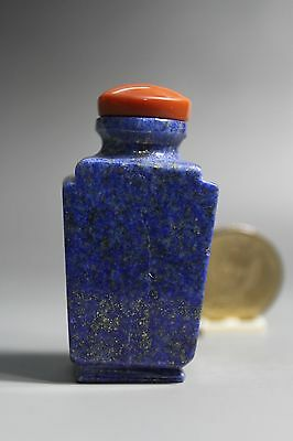 Fine Chinese Antique Carved Natural Lapis Lazuli Snuff Bottle