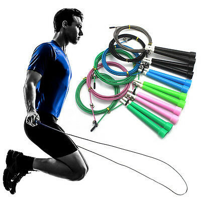 Speed Skipping Jump Rope Adjustable Steel Wire Crossfit Exercise Gym Fitness 3M