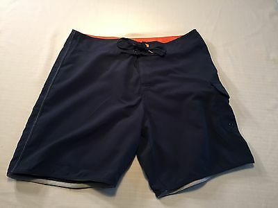 Quicksilver Men's Size 33 Navy Blue Board Shorts Flat Front Classic