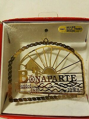 Bonaparte Iowa Brass Christmas Ornament