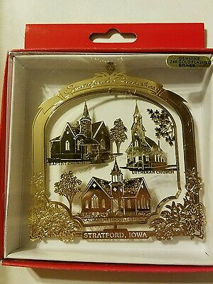 Churches Stratford  Iowa Brass Christmas Ornament