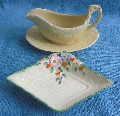 vintage 1930s CROWN DEVON Garden Path SAUCE JUG & UNDERPLATE & small DISH