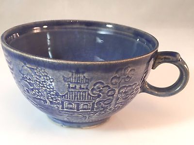 Vintage Paden City Pottery Blue Willow in Relief Footed Teacup (Embossed)