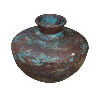 Silkroute PST3708BL  Iron Painted Pot - Blue