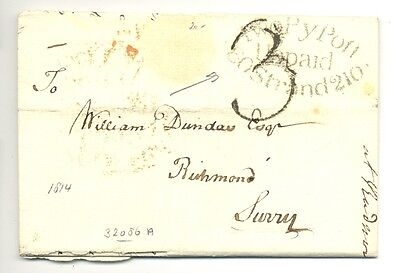 England 1814  Letter    Postmarks  = Two Pypost =   F/vf