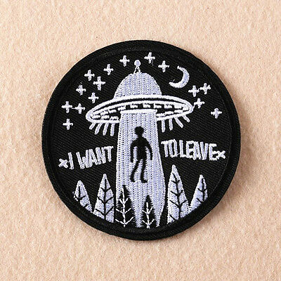 Sew Iron DIY Embroidery UFO Alien Flying Saucer On Patch Badge Bag Hat Applique