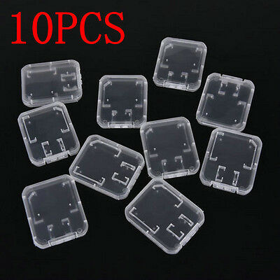 Case Holder Box Storage Plastic Transparent Standard 10PCS SD SDHC Memory Card