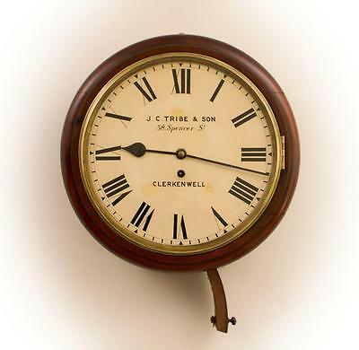 A RESTORED ANTIQUE 19thC CHAIN FUSÉE ENGLISH DIAL CLOCK - c.1880  [636DC]