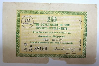 British Straits Settlements 10 ten cents banknote, 1920, Emergency Issue, Scarce