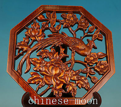 Chinese Old Camphorae Wood Handmade Carved Flower bird Collect Plate Ornament