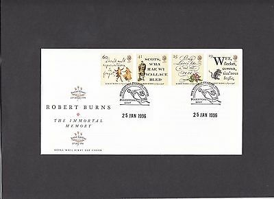 1996 Robert Burns Royal Mail FDC Historic Channel Tunnel Folkestone H/S