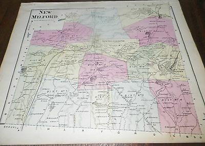Old Antique Vintage Map New Milford  Districts No Date