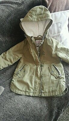NEXT girls Parka Winter Coat, hooded. Age 4. Khaki green.Excellent cond.