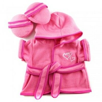 "Hot Pink Bathrobe & Slippers outfit teddy bear clothes fit 15"" Build a Bear"