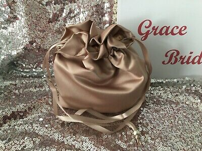 COFFEE SATIN DOLLY BAG BRIDESMAID PROM FLOWER GIRL BNIP **free samples**