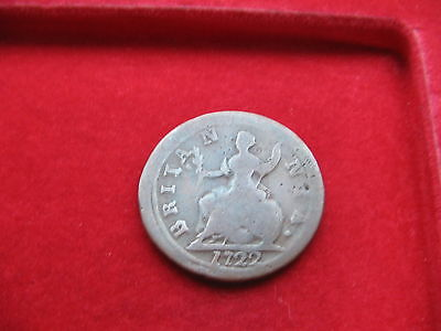 Nice 1722 King George I Dump Copper Farthing