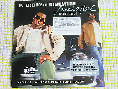 """P. Diddy & Ginuwine I Need A Girl (Part Two)  BBDP-9441 US 12"""" RED Vinyl Single"""