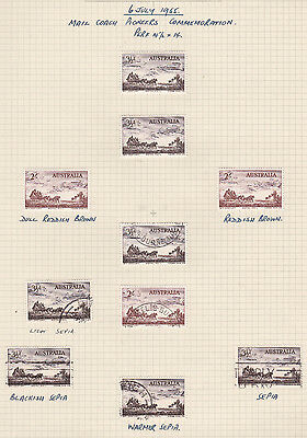 1955 Cobb & Co. Horse & Stagecoach Stamps Australia Used Lot to 2/-  Hand Notes