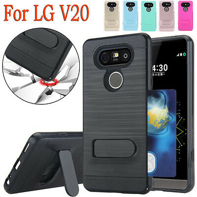 Stylish Soft TPU Cover Impact Armor Stand Case Hybrid Shockproof For LG V20 Case