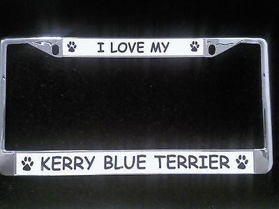 I Love My Kerry Blue Terrier Chrome License Plate Frame
