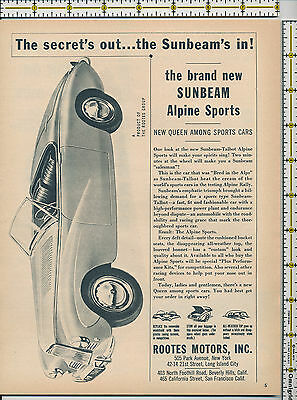 Sunbeam Talbot Alpine Sports car Rootes Motors Inc 1953 magazine print ad