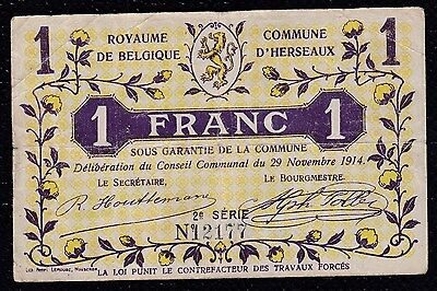 1 Franc Commune D'herseaux From Belgium 1914 With Overprint On Back