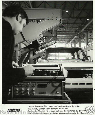 Fiat 128 Factory Roof Strength Safety Test  1969 Original Press Photograph