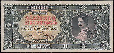 100000 Milpengo From Hungary 1946 Au