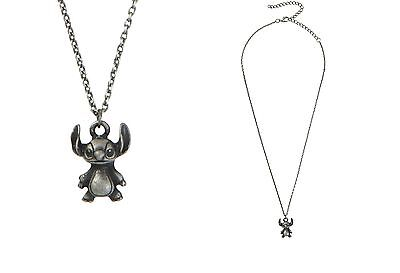 Disney Lilo And Stitch Burnished Silver Tone 3D Pendant Necklace Alien 626 New