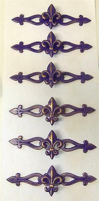 "LOT 6 Drawer Pulls Fleur de Lis Knob with Backplate Purple Gold French 2"" x 7"""