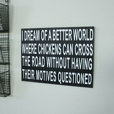 Home wall plaque picture shabby vintage gift chic chickens dream quote print