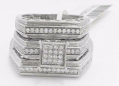 TRIO SILVER WHITE SAPPHIRE RINGS SET *FREE SHIPPING* 9 grams * new with tag