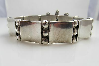 Classic Hector Aguilar Mexico Sterling Silver Bracelet Old Mark Book And Bead