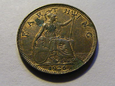 1926 George V Farthing Coin  - Some Lustre