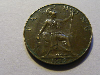 1919 George V Farthing Coin  -