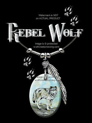 "Rebel Wolf Necklace For Male Or Female - Wild Wolves Western Art - 24"" Leather"