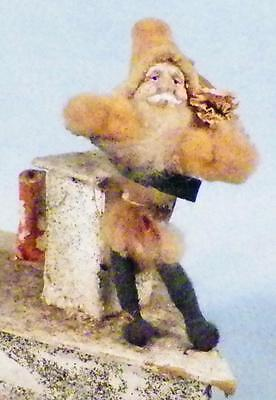Santa Claus on Boat Candy Container Papier Mache Mica Glitter Antique