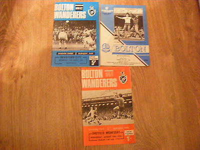 3 x Bolton Wanderers Football programmes 1970 - 1989 - in good condition